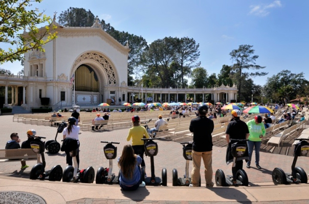 Segway mounted tours are not uncommon in Balboa Park.
