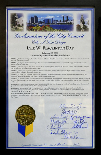 The official proclamation for Lyle W. Blackinton Day.