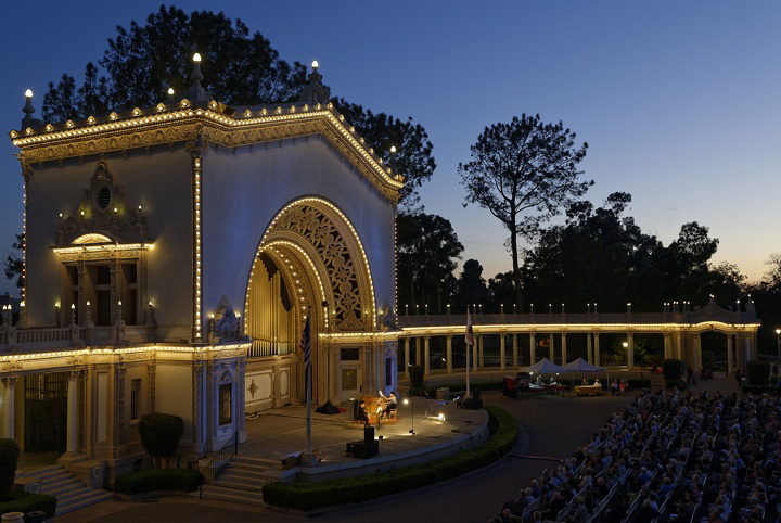 Spreckels Organ Pavilion at dusk